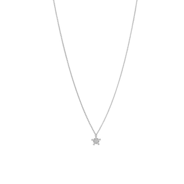 Rhodium Plated Tiny Snowflake CZ Necklace