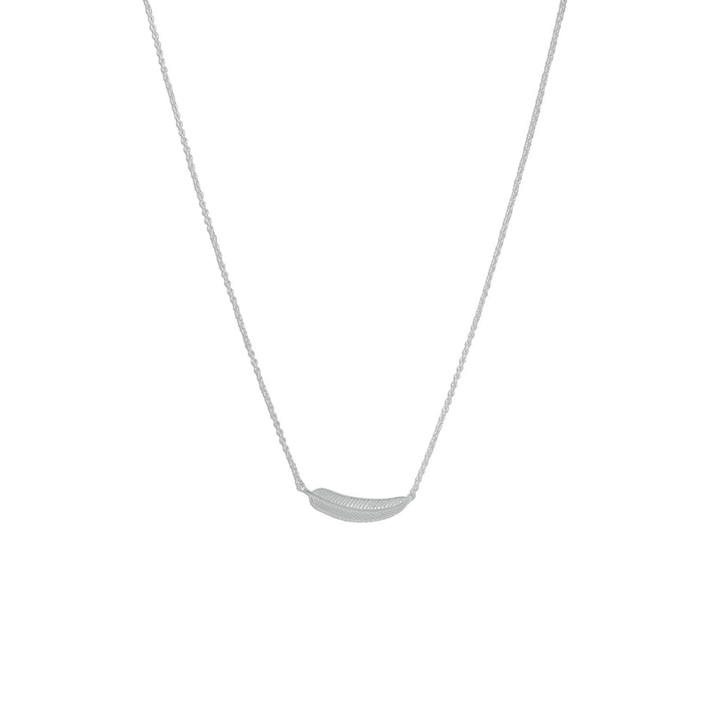 Rhodium Plated Tiny Sideways Feather Necklace