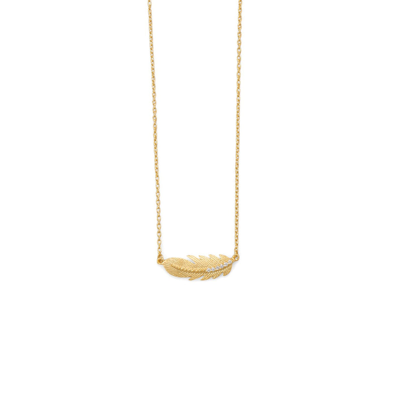 18 Karat Gold Plated Sideways CZ Feather Necklace