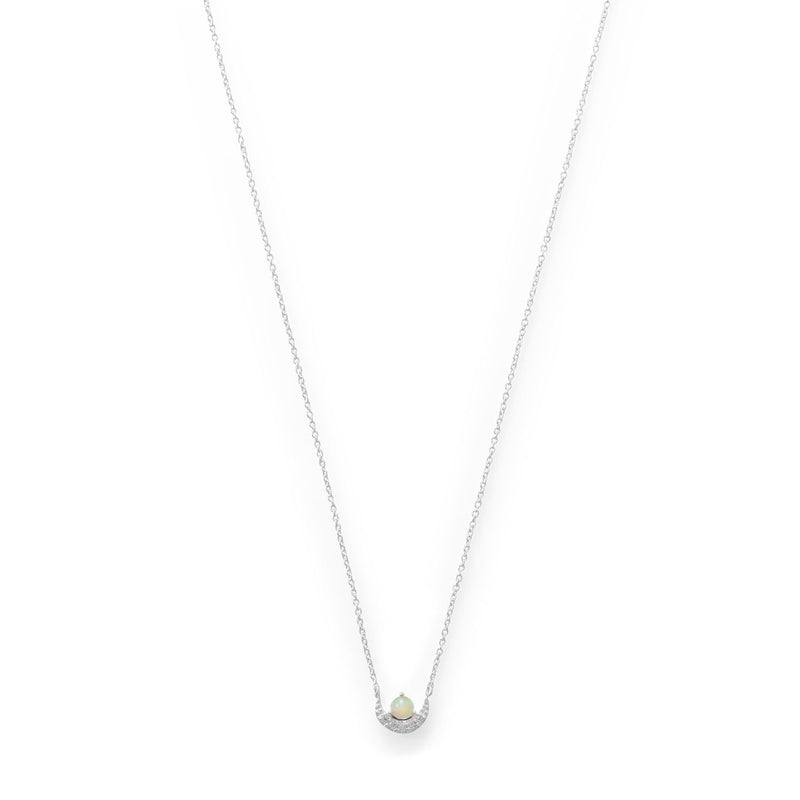 CZ Crescent and Synthetic Opal Necklace
