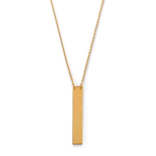 "16"" + 2"" 14 Karat Gold Plated Vertical Bar Drop Necklace"