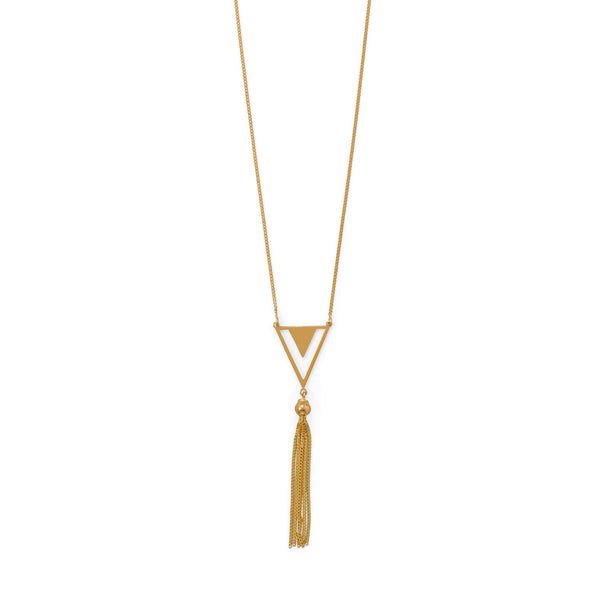 "32""+2 14 Karat Gold Plated Triangle and Tassel Necklace"