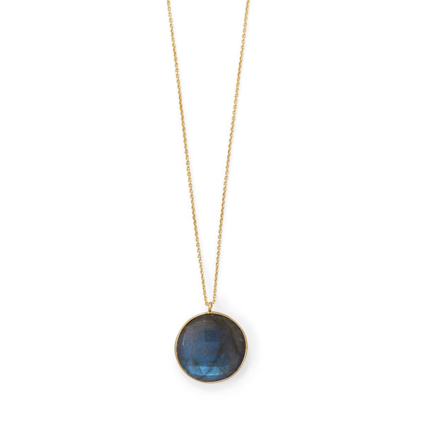 "20""+2 14 Karat Gold Plated Round Labradorite Necklace"
