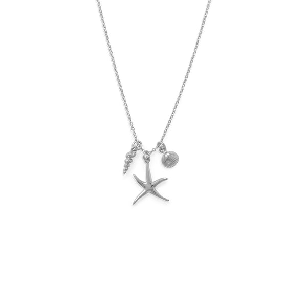 "16"" Rhodium Plated Starfish and Shells Charm Necklace"