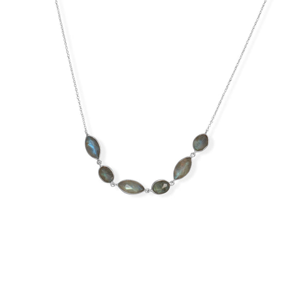 "16""+2"" Rhodium Plated Multi-Shape Labradorite Necklace"