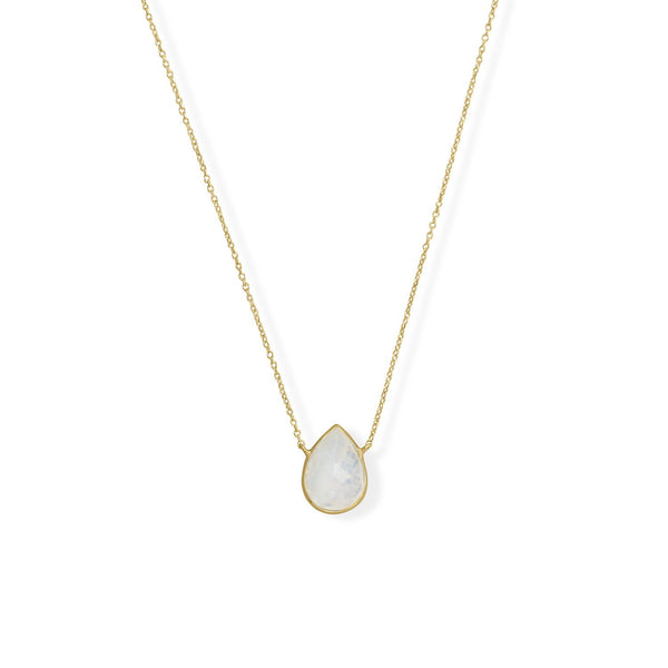 "16""+2"" 14 Karat Gold Plated Pear Rainbow Moonstone Necklace"