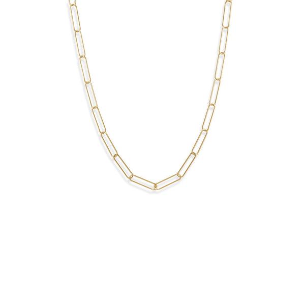 "21"" 14 Karat Gold Plated Paperclip Chain Necklace"