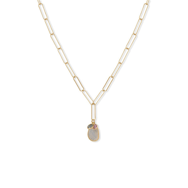 "21"" 14 Karat Gold Plated Charm Drop Necklace"