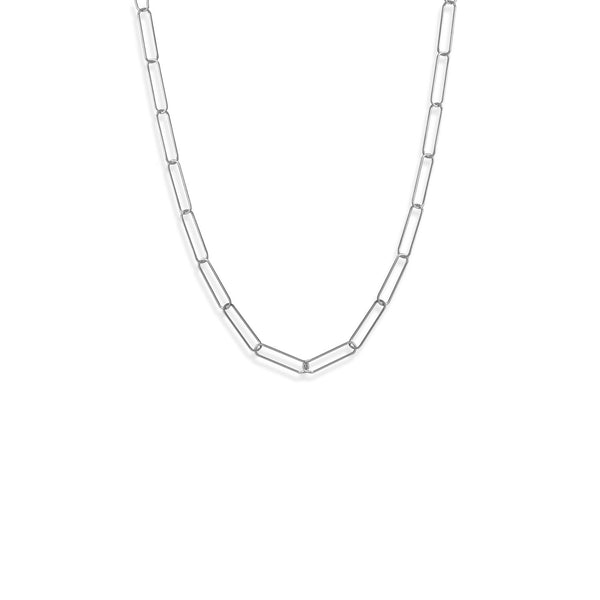 "21"" Rhodium Plated Paperclip Chain Necklace"