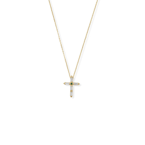 "Bodacious Baguettes! 16"" + 2"" White and Green CZ Cross Necklace"