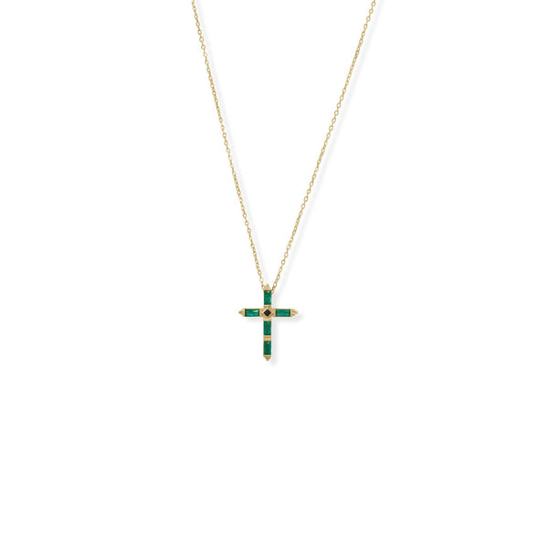 "Bodacious Baguettes! 16"" + 2"" Green and Black CZ Cross Necklace"