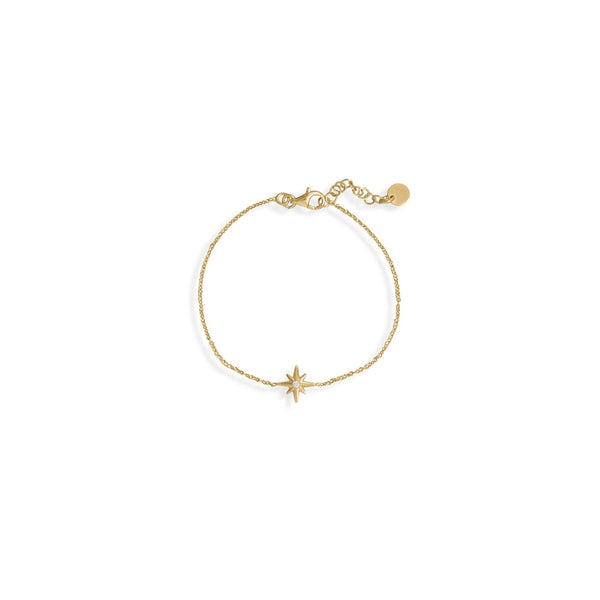 "6.5""+1"" 14 Karat Gold Plated CZ Star Bracelet"