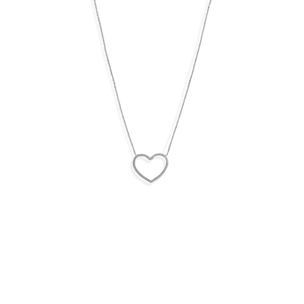 "16"" + 2"" Rhodium Plated Diamond Cut Heart Outline Necklace"