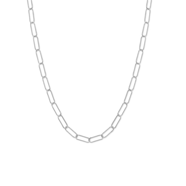 "18"" Rhodium Plated Paperclip Necklace"