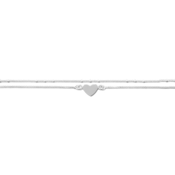"Crown Jewelry 11"" + 1"" Women Ankle Bracelet Sterling Silver Ankle String Double Strand Heart Anklet"