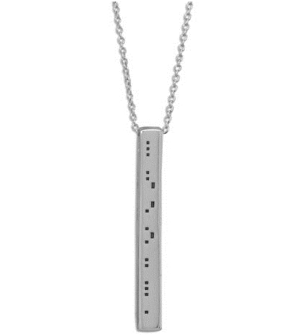 Rhodium Plated Sterling Silver Square Bar Drop Necklace with morse code reading: Sunrise,Sunburn,Sunset,Repeat