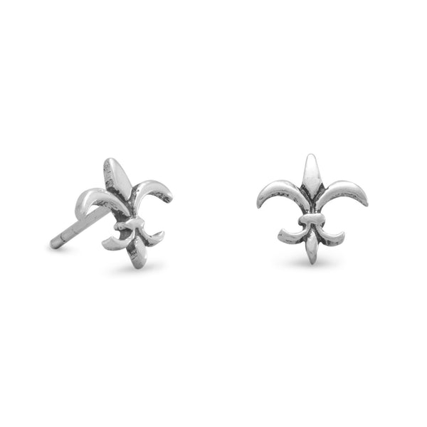 Small Oxidized Fleur de Lis Post Earrings