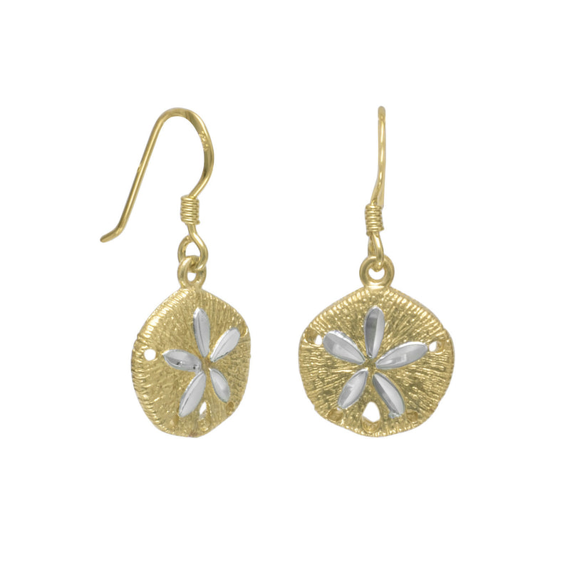 14 Karat Gold Plated Sand Dollar French Wire Earrings