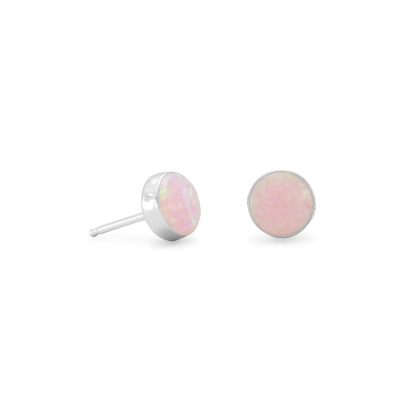 Pink Synthetic Opal Stud Earrings