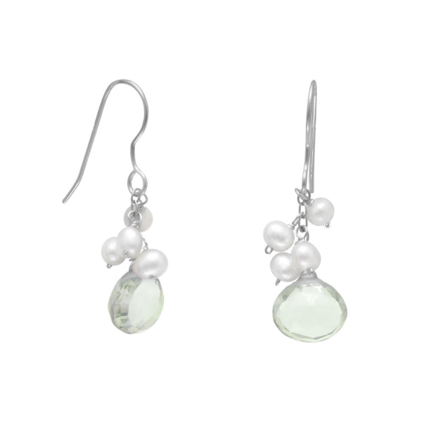 Green Amethyst and Cultured Freshwater Pearl French Wire Earrings