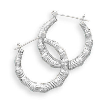 Bamboo Design Hoop Earrings