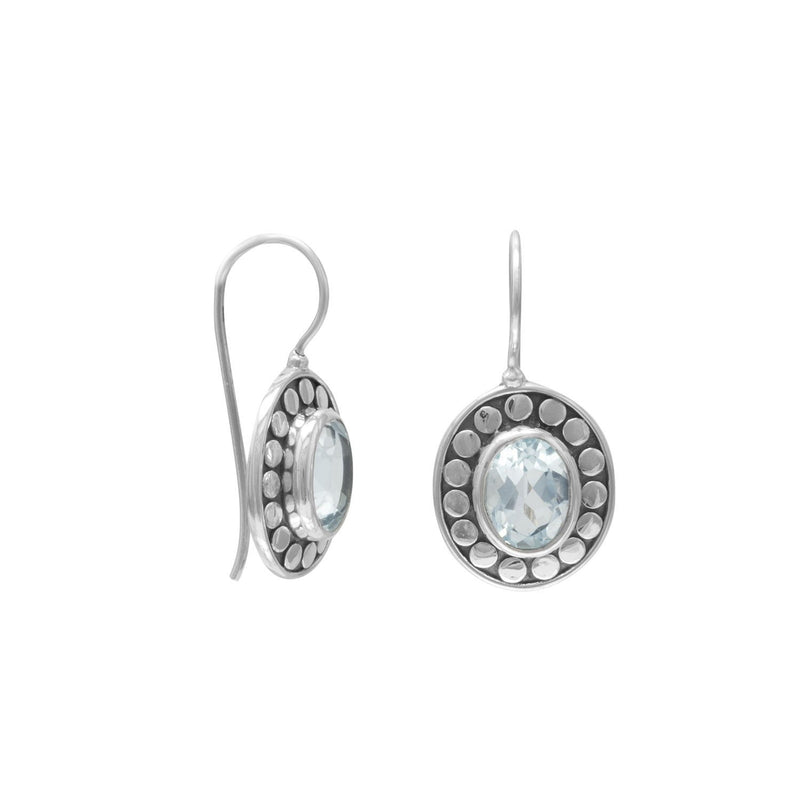 Oxidized Blue Topaz Earrings