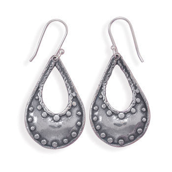 Oxidized Pear Shape Earrings with Bead Design