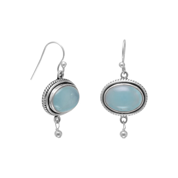 Oxidized Chalcedony Drop Earrings