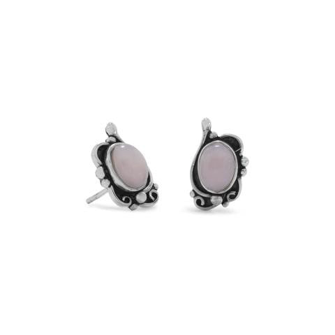Oxidized Pink Opal Earrings