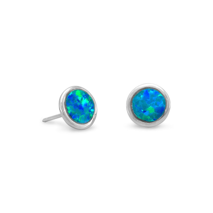 Rhodium Plated Synthetic Opal Stud Earrings