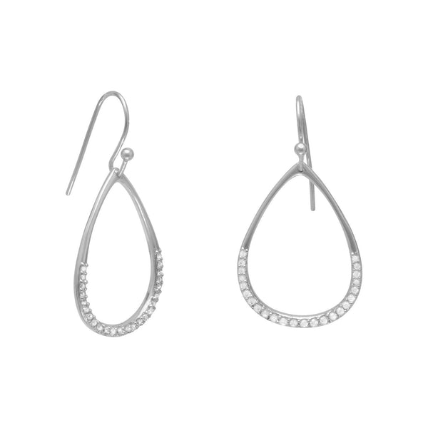 Rhodium Plated CZ Pear Drop Earrings