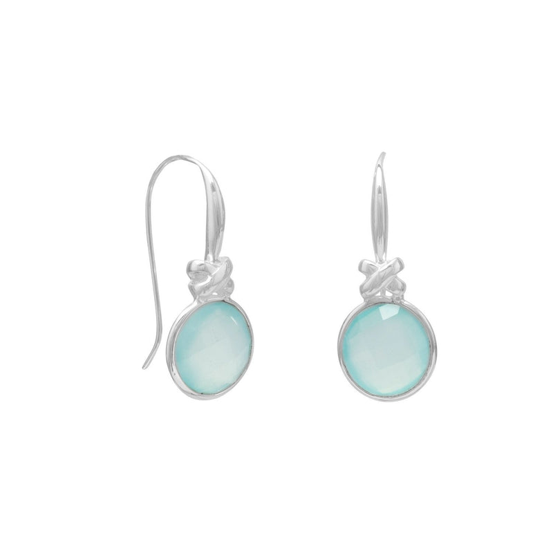 "Faceted Sea Green Chalcedony Earrings with ""X"" Design"
