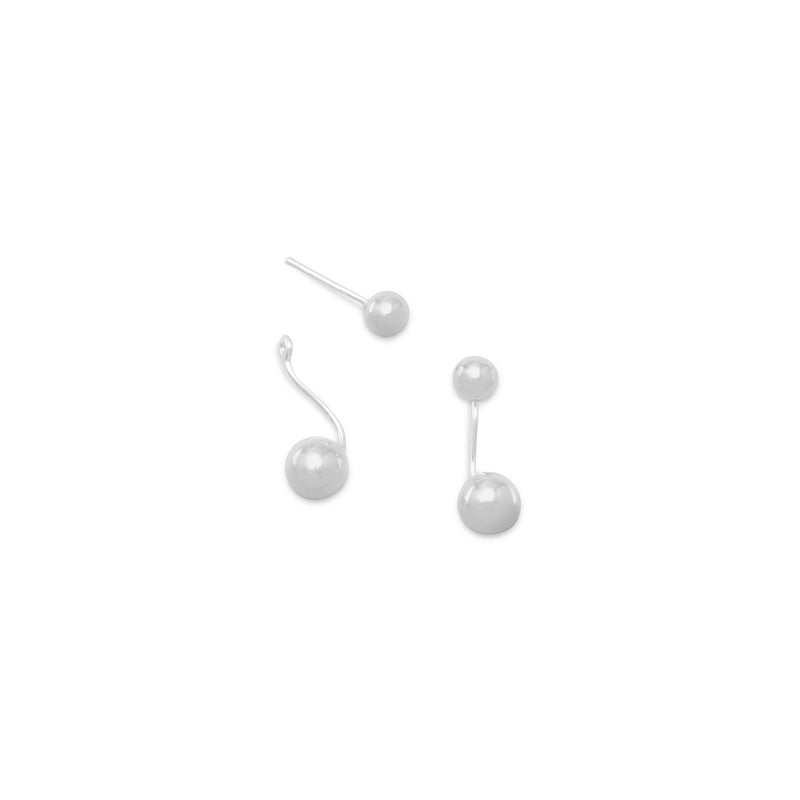 Polished 2 Bead Front Back Earrings