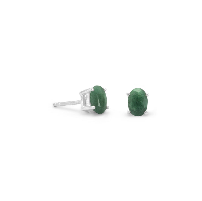 Faceted Oval Emerald Earrings
