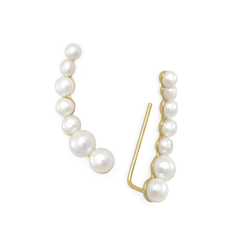 14 Karat Gold Plated Graduated Cultured Freshwater Pearl Ear Climbers
