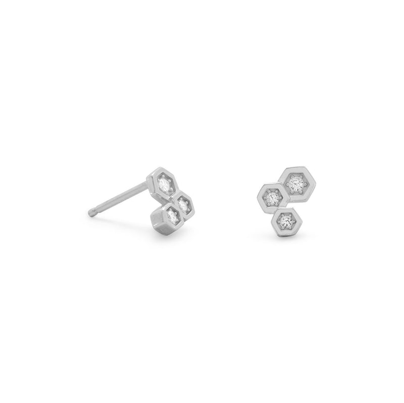 Rhodium Plated CZ Honeycomb Post Earrings
