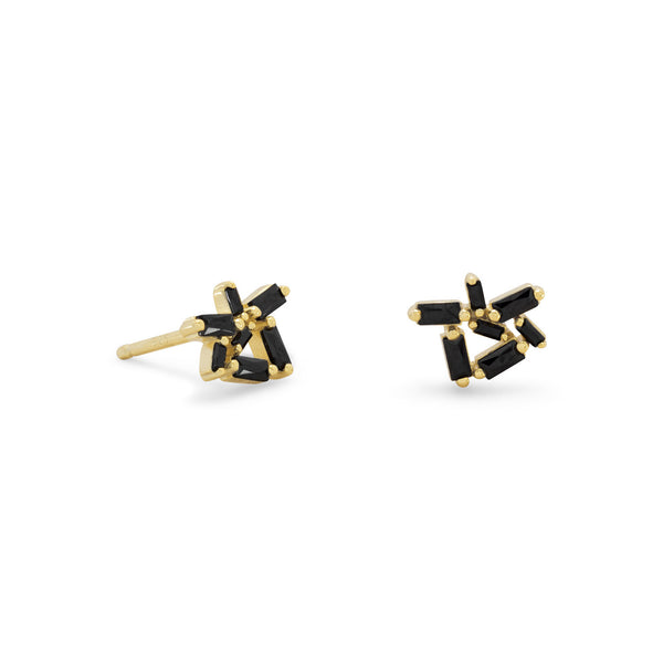 14 Karat Gold Plated Stud Earrings with Black CZs