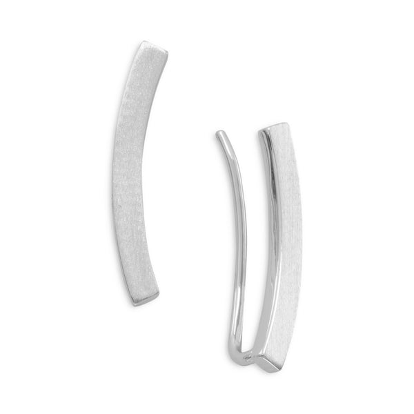 Rhodium Plated Curved Bar Ear Climbers