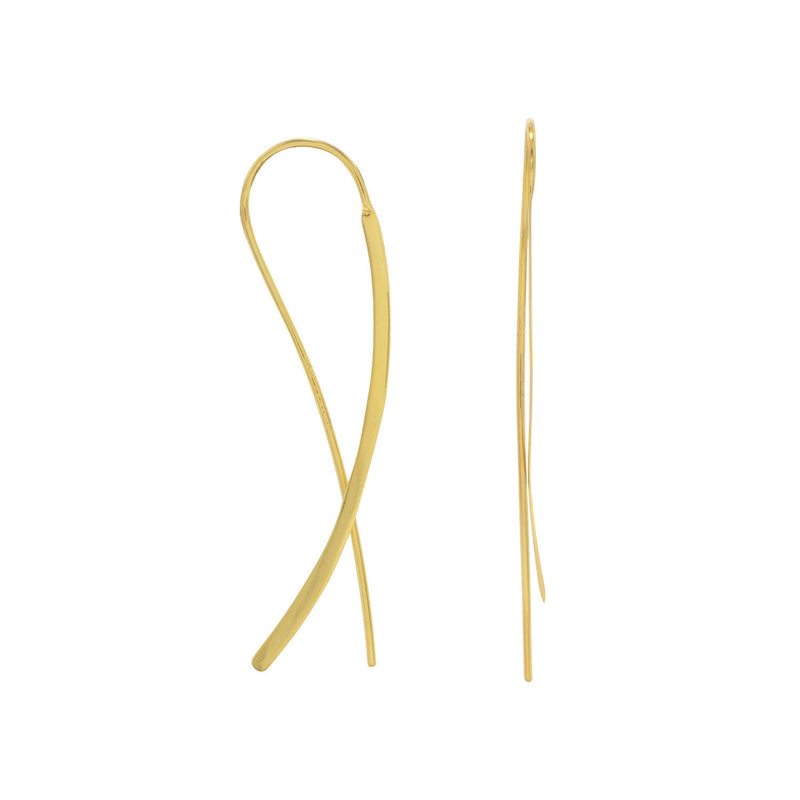 14 Karat Gold Plated Flat Long Wire Earrings