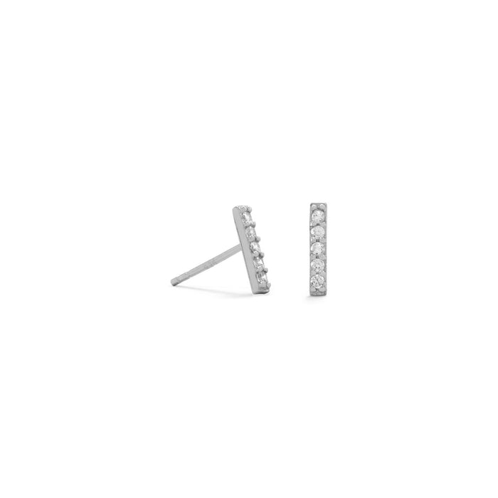 Rhodium Plated Mini CZ Bar Studs