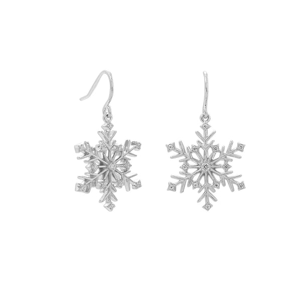 Rhodium Plated 6 Point CZ Snowflake French Wire Earrings