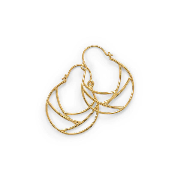 14 Karat Gold Plate Line Wire Design Hoop Earrings