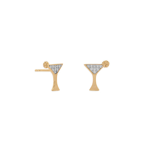 14 Karat Gold Plated CZ Martini Stud Earrings