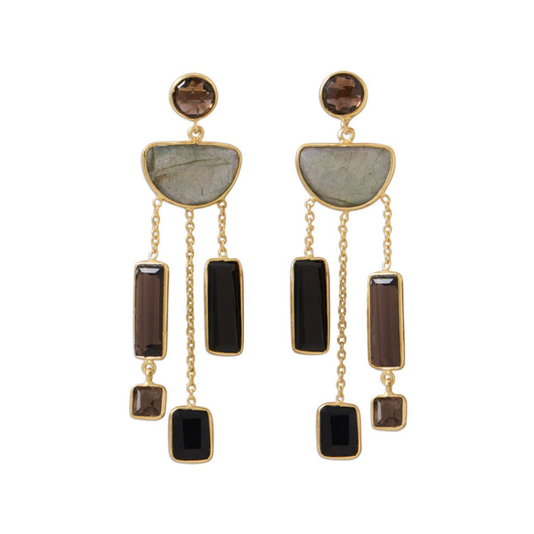 14 Karat Gold Plated Multi Stone Gray Post Earrings
