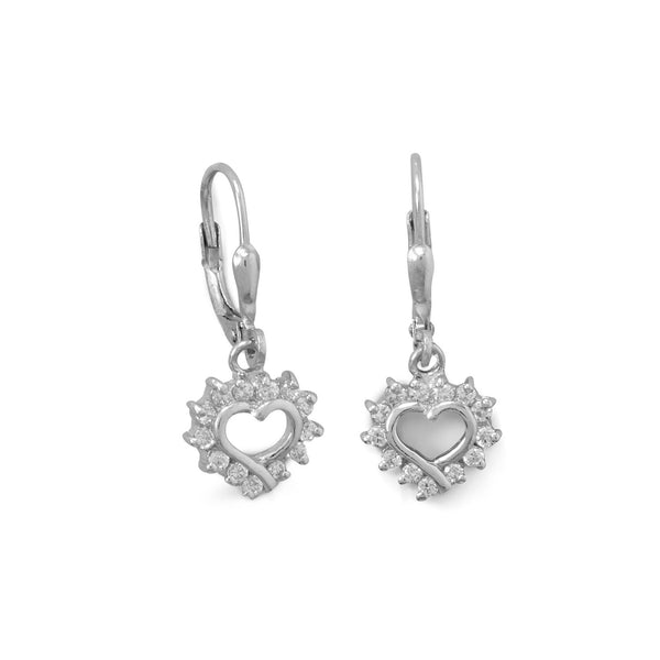 Rhodium Plated Cutout CZ Heart Lever Earrings