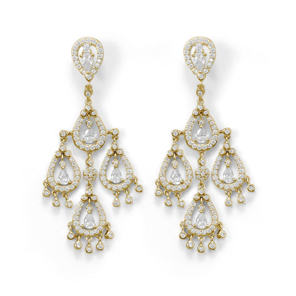 14 Karat Gold Plated CZ Pear Chandelier Earrings