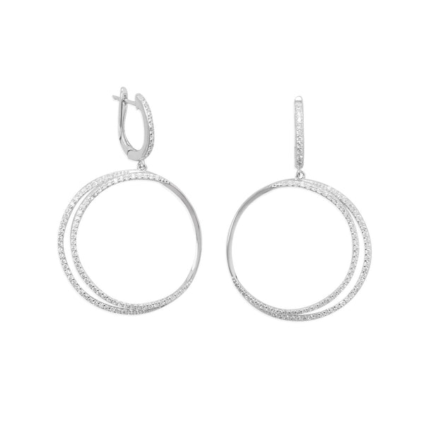 Rhodium Plated CZ Double Hoop Earrings
