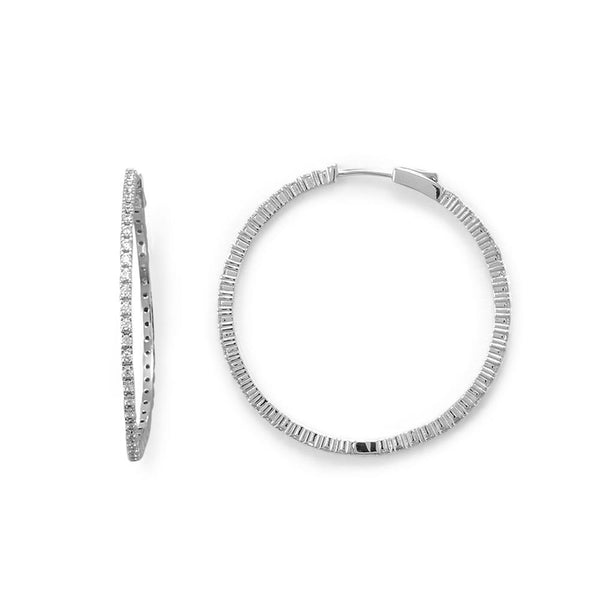 Rhodium Plated CZ 40mm Click Hoop Earrings