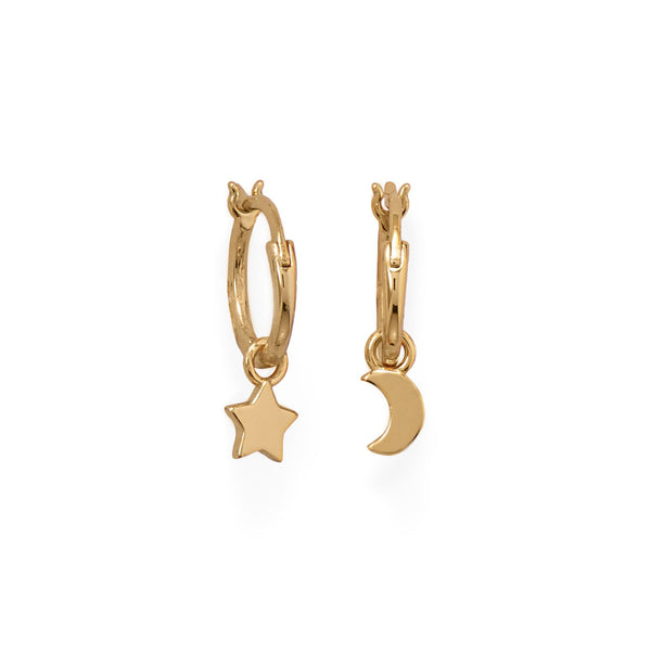 14 Karat Gold Plated Moon and Star Charm Hoop Earrings