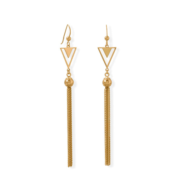 14 Karat Gold Plated Triangle and Tassel Earring